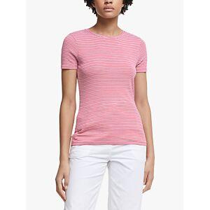 John Lewis & Partners GOTS Organic Cotton Short Sleeve Crew Neck Stripe T-Shirt  - Rose/White