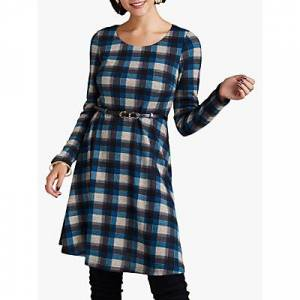 Yumi Check Long Sleeve Skater Dress  - Blue