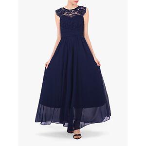 Jolie Moi Cap Sleeve Flared Maxi Dress  - Navy