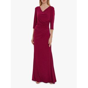 Gina Bacconi Samantha Maxi Dress  - Wine/Gold - Size: 24
