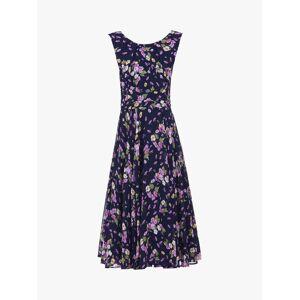 Jolie Moi Floral Chiffon Midi Dress, Navy Floral  - Blue - Size: 14