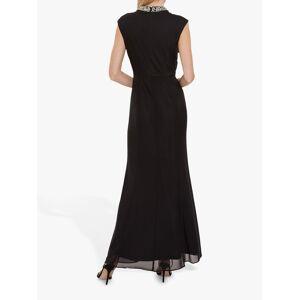 Gina Bacconi Ezra Stretch Mesh Maxi Dress  - Black - Size: 10