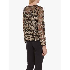 Gina Bacconi Everita Beaded Blouse, Black/Gold  - Gold - Size: 12