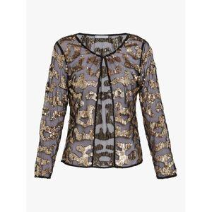Gina Bacconi Everita Beaded Blouse, Black/Gold  - Gold - Size: 24