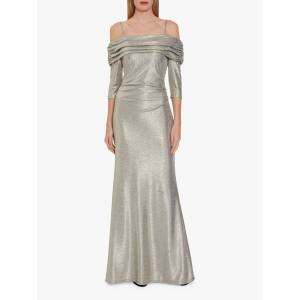 Gina Bacconi Hosanna Metallic Maxi Dress  - Light Gold - Size: 24