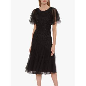 Gina Bacconi Ciela Beaded Midi Dress, Black  - Black - Size: 10