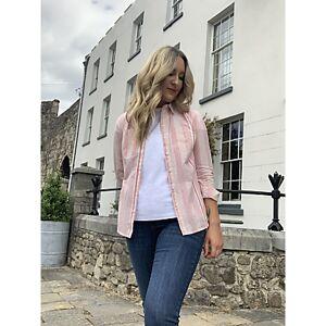 John Lewis & Partners Button Down Stripe Cotton Shirt, White/Pink