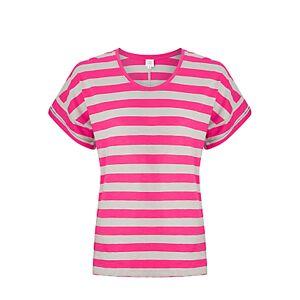 John Lewis & Partners Cotton Drop Sleeve Stripe Slub T-Shirt  - Pink