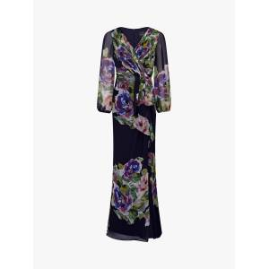 Adrianna Papell Floral Chiffon Dress, Navy/Multi  - Blue - Size: 14