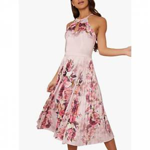 Chi Chi London Raeane Pleated Floral Dress, Mink