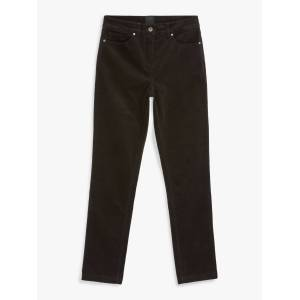 John Lewis & Partners Straight Mid Rise Corduroy Jeans  - Dark Brown - Size: 14