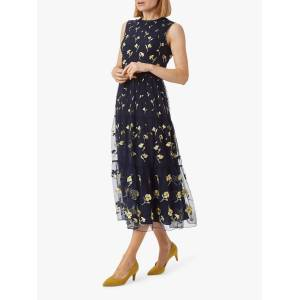 Hobbs Bethany Floral Print Midi Dress, Midnight Yellow  - Multi - Size: 10