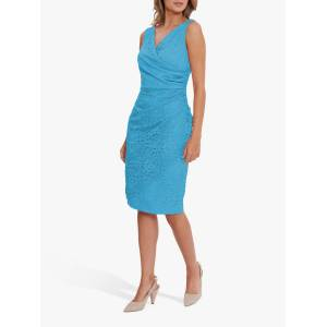 Gina Bacconi Josette Floral Lace Sleeveless Dress  - Summer Turquoise - Size: 22