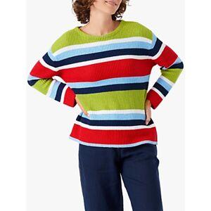 Brora Ribbed Cotton Striped Jumper, Rainbow