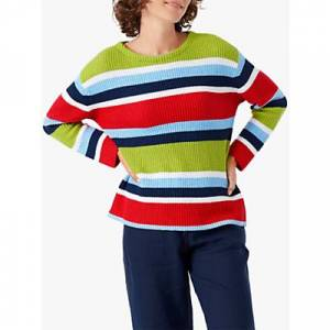 Brora Ribbed Cotton Striped Jumper, Rainbow