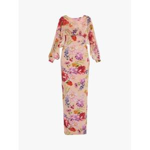 Gina Bacconi Gracey Chiffon Floral Print Maxi Dress, Blush Rose/Green  - Multi - Size: 14