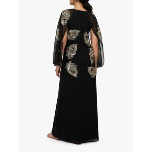 Monsoon Cara Peacock Embroidered Maxi Dress, Black