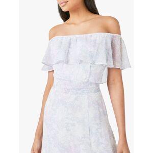 Maids to Measure Sienna Floral Print Bardot Maxi Dress, White  - White - Size: 14