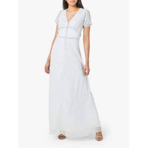 Maids to Measure India Print Open Back Chiffon Dress, White/Blue  - Multi - Size: 14