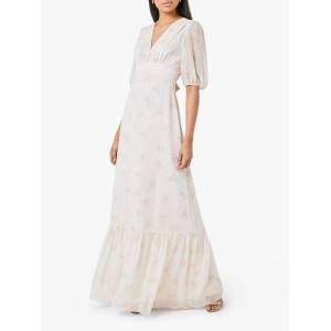 Maids to Measure Mathilda Floral Print Dress  - Cream Soda - Size: 14
