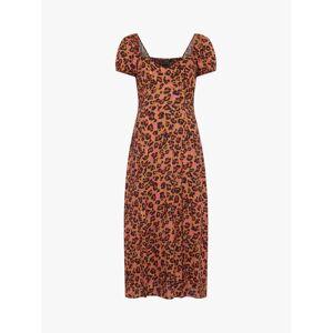 French Connection Ameli Leopard Print Short Sleeve Midi Dress, Desert Rose/Multi  - Pink - Size: 8