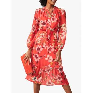 Phase Eight Bernadette Floral Print Midi Dress, Sunset  - Red - Size: 14