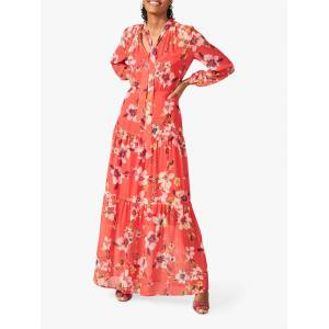 Phase Eight Bernadette Floral Print Maxi Dress, Sunset  - Red - Size: 14