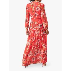 Phase Eight Bernadette Floral Print Maxi Dress, Sunset  - Red - Size: 10