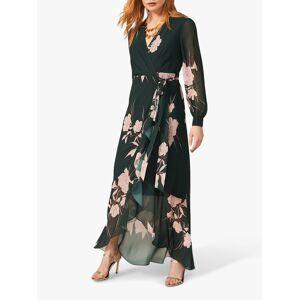 Phase Eight Kazumi Floral Ruffle Asymmetric Hem Maxi Wrap Dress, Forest/Multi  - Green - Size: 20