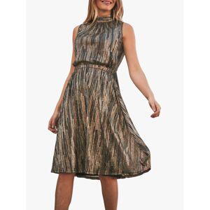 Sosandar Metallic Stripe Halter Neck Dress, Gold/Black  - Gold - Size: 8
