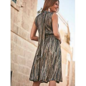 Sosandar Metallic Stripe Halter Neck Dress, Gold/Black  - Gold - Size: 6