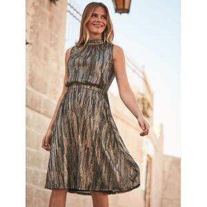 Sosandar Metallic Stripe Halter Neck Dress, Gold/Black  - Gold - Size: 20