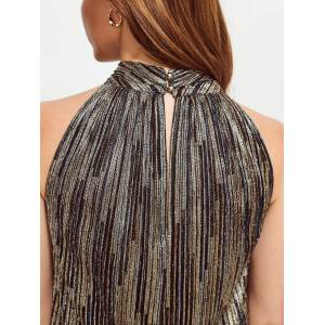 Sosandar Metallic Stripe Top, Gold  - Gold - Size: 18