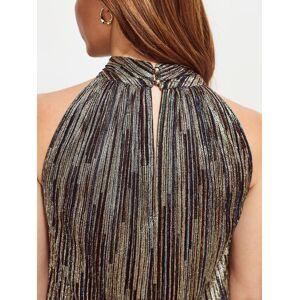 Sosandar Metallic Stripe Top, Gold  - Gold - Size: 14