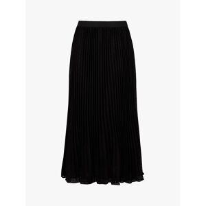 Monsoon Pleated Dobby Maxi Skirt, Black  - Black - Size: Large