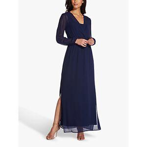 Adrianna Papell Chiffon Pleated Maxi Dress, Navy