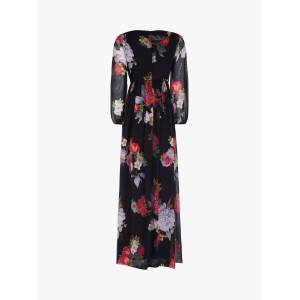 Adrianna Papell Chiffon Floral Maxi Gown, Black/Multi  - Black - Size: 14