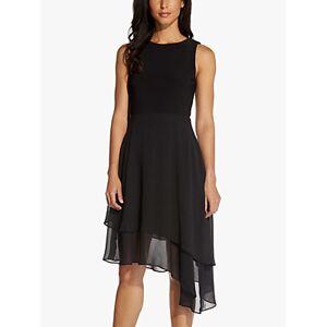 Adrianna Papell Jersey Chiffon Knee Length Dress, Black