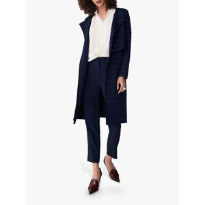 The Fold Cherbury Knitted Coat, Navy Stripe  - Blue - Size: Large