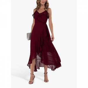 Jolie Moi Chiffon Ruffle Floral Maxi Dress, Burgundy
