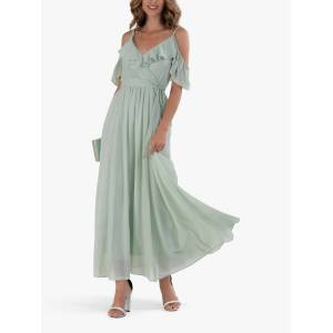 Jolie Moi Spaghetti Strap Ruffle Maxi Dress, Mist