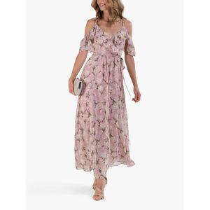 Jolie Moi Spaghetti Strap Floral Print Ruffle Maxi Dress, Pink/Multi  - Pink - Size: 14
