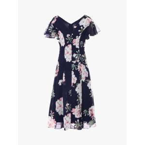 Jolie Moi Floral Midi Dress, Navy  - Blue - Size: 14