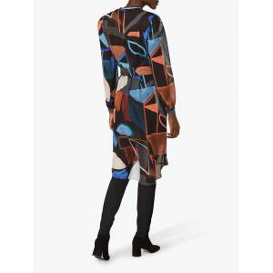 Phase Eight Nemi Chiffon Abstract Knee Length Dress, Orange/Multi  - Orange - Size: 10