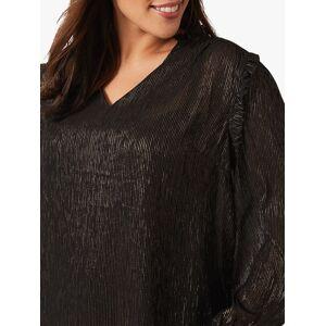 Studio 8 Tallie Metallic Stripe Frill Shoulder Top, Black/Gold  - Multi - Size: 24