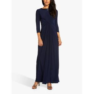 Adrianna Papell Jersey Maxi Gown, Midnight  - Blue - Size: 18