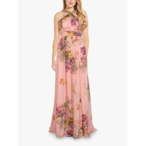 Adrianna Papell Chiffon Halterneck Floral Maxi Gown, Blush  - Pink - Size: 14