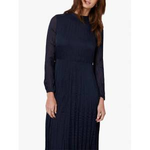 Mint Velvet Crinkled Chiffon Midi Dress, Dark Blue  - Blue - Size: 14