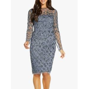Adrianna Papell Beaded Mesh Dress, Dusty Blue  - Blue - Size: 10