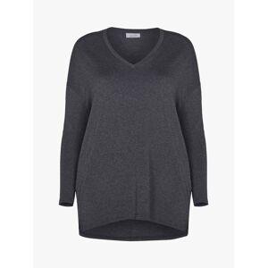 Live Unlimited Curve V-Neck Top  - Dark Grey - Size: 18